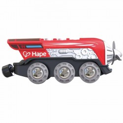 LOCOMOTIVA A ELICA trenini in legno FERROVIA rossa HAPE a batteria E3750 età 3+