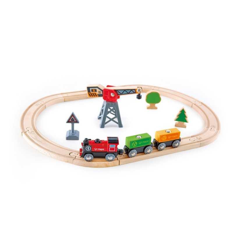 CARGO DELIVERY LOOP pista treno con gru e set locomotiva a batteria HAPE trenini in legno E3731 età 3+