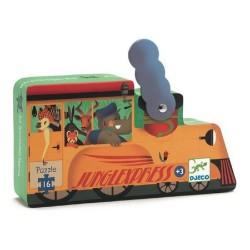 PUZZLE gioco LOCOMOTIVA 16 pezzi giganti DJECO scatola sagomata DJ07267 età 3+