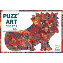 PUZZ'ART lion LEONE in cartone 150 PEZZI Djeco DJ07654 sagomato PUZZLE età 6+