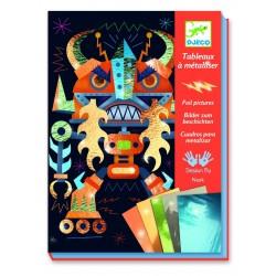 QUADRI DA METALLIZZARE kit artistici ROBOTS 4 tavole DJ09515 creativo DJECO età 7+