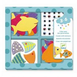 CREARE CON ADESIVI kit artistico PESCI creativo DJECO fish DJ09052 età 3+