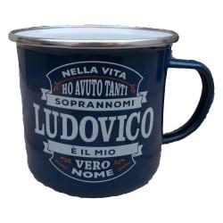TAZZA mug LUDOVICO in metallo NOMI smaltata BLU h&h IDEA REGALO