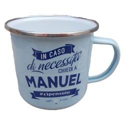TAZZA mug MANUEL in metallo NOMI smaltata AZZURRO h&h IDEA REGALO