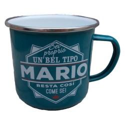 TAZZA mug MARIO in metallo NOMI smaltata VERDE ACQUA h&h IDEA REGALO