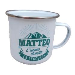 TAZZA mug MATTEO in metallo NOMI smaltata BIANCA h&h IDEA REGALO