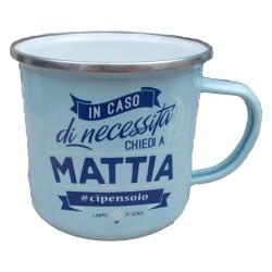 TAZZA mug MATTIA in metallo NOMI smaltata AZZURRO h&h IDEA REGALO