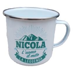TAZZA mug NICOLA in metallo NOMI smaltata BIANCA h&h IDEA REGALO