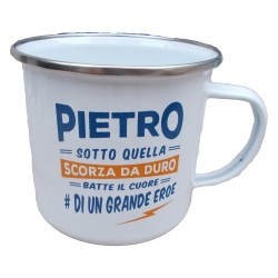 TAZZA mug PIETRO in metallo NOMI smaltata BIANCA h&h IDEA REGALO