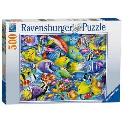 PUZZLE Ravensburger PESCI TROPICALI 500 pezzi TROPICAL TRAFFIC 49x36cm