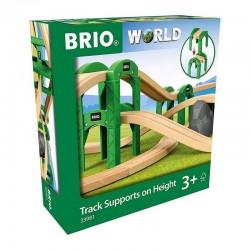 SUPPORTI PONTE RIALZATO in legno TRACK SUPPORTS ON HEIGHT set TRENO trenini BRIO 22 pezzi 33981 età 3+