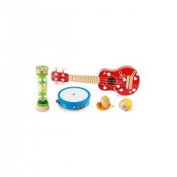 MINI BAND SET strumenti UKULELE E PERCUSSIONI in legno HAPE gioco E0339 età 3+