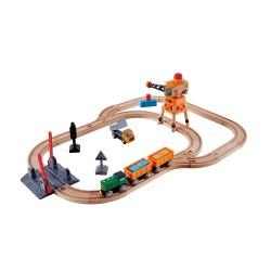 SET ferrovia PASSAGGIO A LIVELLO E GRU trenino TRENO in legno HAPE gioco E3732 età 3+