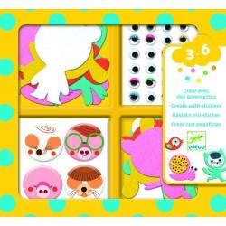 CREARE CON ADESIVI kit artistico ADORO GLI ANIMALI creativo DJECO DJ09050 età 3+