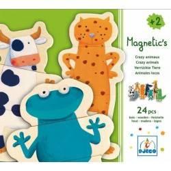 Puzzle magnetico Djeco Animali matti, 24 pz, età 2+