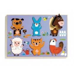 Puzzle in legno in rilievo Djeco COUCOU CAT 12 pz., età 18m+