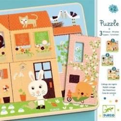 Puzzle legno Djeco 3 livelli CASA DEL CONIGLIO età 2+