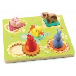 Puzzle BILDI legno 5 pz. DJECO PAPERA E AMICI età +12m DJ01030