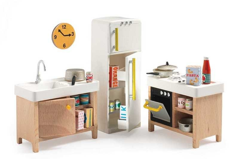 Mobili Per Casa Delle Bambole : Cucina completa casa delle bambole accessorio mobili djeco dj07823