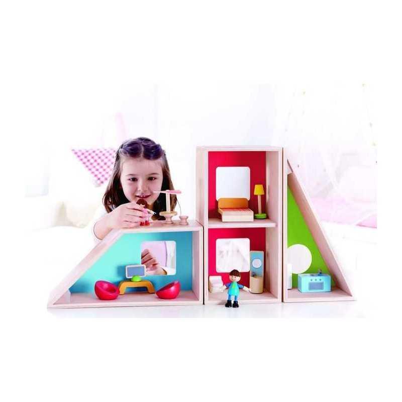 Casa delle bambole moderna geometrica hape gioco in legno for Accessori casa moderna