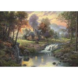 Puzzle SCHMIDT Mountain Retreat 1000 pz mm693x493 58445 Thomas Kinkade painter of light