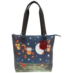 BORSA SHOPPER Gorjuss ELECTRIC NIGHT OWLS bag 391EC02 Santoro GUFI
