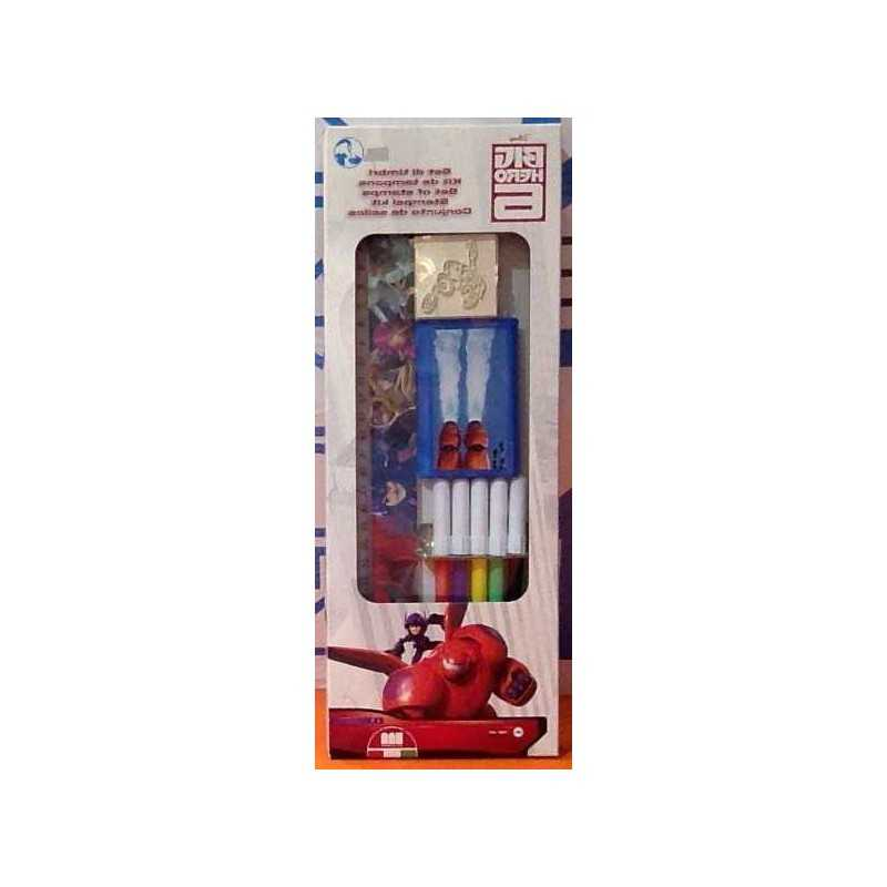 BOX set BIG HERO 6 Multiprint 4 PENNARELLI 2 TIMBRI 1 TAMPONE 1 RIGHELLO kit